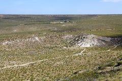 Landskap från kullen nära Puerto Madryn, en stad i det Chubut landskapet, Patagonia, Argentina royaltyfri bild