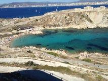 Landskap från Marseille frioul Arkivfoton