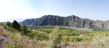 Landskap från Mount Vesuvius som visar den forntida lavakanalen Arkivbild