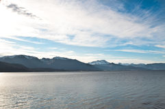 Landskap från Norge, det snowed berg nå en höjdpunkt Arkivfoto