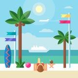 Landskap gränsen med den härliga flickan som solbadar på stranden Plan illustration för vektor Arkivbilder