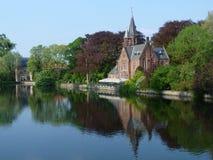 Landskap i Brugge, Belgien Arkivbilder