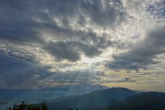 Landskap i Da Nang, Vietnam Dramatisk himmel för solnedgång arkivbilder