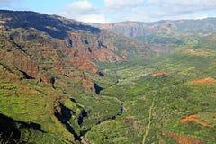 Landskap i den Waimea kanjonen Arkivfoto