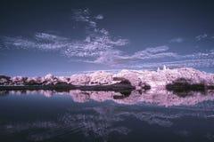Landskap i infrared av på engelska bygd för sjö i sommar Arkivfoton