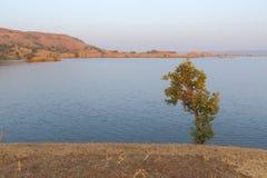Landskap i naturen, tillbaka vatten för mahi, banswara, rajasthan, Indien Arkivbild