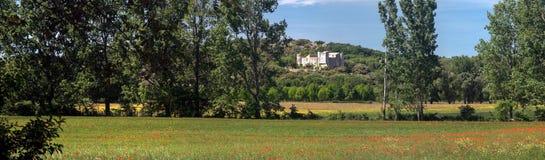 Landskap i söderna av Frankrike (Gard): bygd och slott Fotografering för Bildbyråer