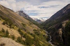 Landskap i Torres del Paine Dal i den Torres del Paine nationalparken i Chile Royaltyfri Foto