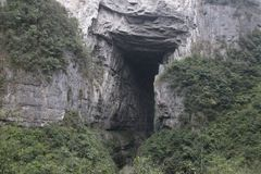 Landskap i Wulong Tiankeng tre broar, Chongqing, Kina Royaltyfri Bild