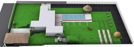 Landskap isometrisk sikt för landsstil, framför 3D Arkivfoto