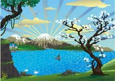 Landskap-körsbäret blomstrar ovanför sjön Arkivfoto