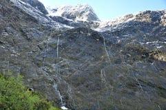 Landskap längs den Milford Sound huvudvägen, Fiordland nationalpark royaltyfri bild
