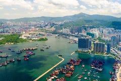 Landskap längs det nya Yau Ma Tei Typhoon skyddet i Hong Kong Fotografering för Bildbyråer