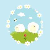 Landskap lantgården med sheeps och bitecknad filmnaturen vektor illustrationer