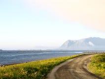 Landskap Lofoten för norskt hav Arkivbilder