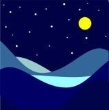 Landskap månbelyst natt också vektor för coreldrawillustration Royaltyfri Fotografi