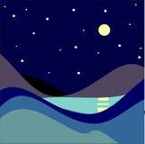 Landskap månbelyst natt också vektor för coreldrawillustration Fotografering för Bildbyråer