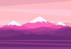 Landskap med berg nå en höjdpunkt stock illustrationer