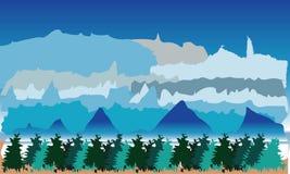 Landskap med berg och träd stock illustrationer