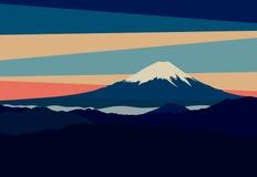 Landskap med bergmaxima i Japan Sikt av Mount Fuji royaltyfri illustrationer