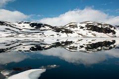 Landskap med bergsjön och den spegelförsedda reflexionen i vattnet, Norge Fotografering för Bildbyråer