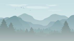 Landskap med blåa konturer av berg, kullar och skog w Arkivbild