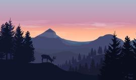 Landskap med blåa konturer av berg, kullar och träd, w Fotografering för Bildbyråer
