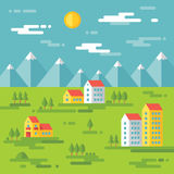 Landskap med byggnader - vektorbakgrundsillustration i plan stildesign Byggnader på grön bakgrund för delshus för gods försäljnin Arkivbild