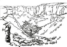 Landskap med byn i bergen Arkivfoto