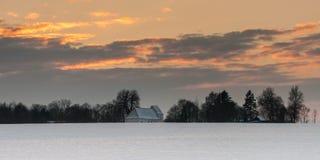 Landskap med churc i solnedgång Royaltyfria Foton
