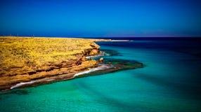 Landskap med den sandAgeeba stranden, Mersa Matruh, Egypten Arkivbilder