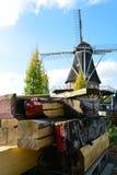 Landskap med den traditionella holländska kornväderkvarnen, pro-återställande Royaltyfri Bild