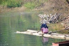 Landskap med en fiskare Arkivfoto