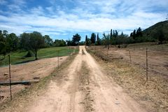 Landskap med en grusväg som korsar paddockar Arkivbilder