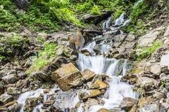 Landskap med en i stånd vattenfallström för pittoresk faktor bland royaltyfri foto