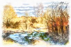 Landskap med en snöig väg Royaltyfri Foto