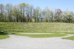 Landskap med en stenamfiteater Arkivfoto