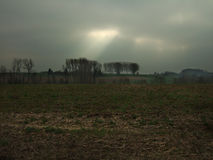 Landskap med en stråle av solsken Arkivfoton
