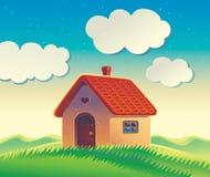 Landskap med ett hus och kullar vektor illustrationer