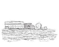 Landskap med fält och byhuset Royaltyfria Bilder
