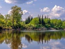 Landskap med floden Royaltyfria Bilder