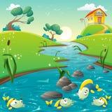 Landskap med floden och den roliga fisken. royaltyfri illustrationer