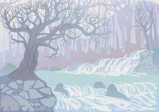 Landskap med floden och träd Royaltyfria Foton
