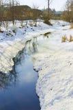 Landskap med floden som smälts från isen Arkivbilder