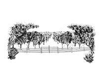 Landskap med fruktträdgården royaltyfri illustrationer