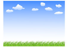Landskap med gräshimmel och moln stock illustrationer