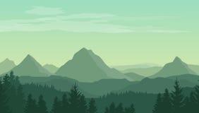 Landskap med gröna konturer av berg, kullar och skogen
