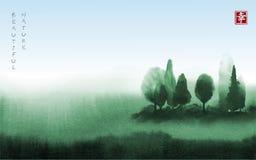 Landskap med gröna träd i dimmahanden som dras med färgpulver i asiatisk stil Grön dimmig äng och blå himmel traditionellt Arkivfoto