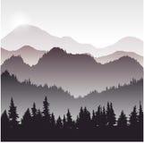 Landskap med granträd royaltyfri illustrationer