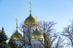 Landskap med guld- kupoler av den kyrkliga ortodoxa kyrkan Arkivbilder
